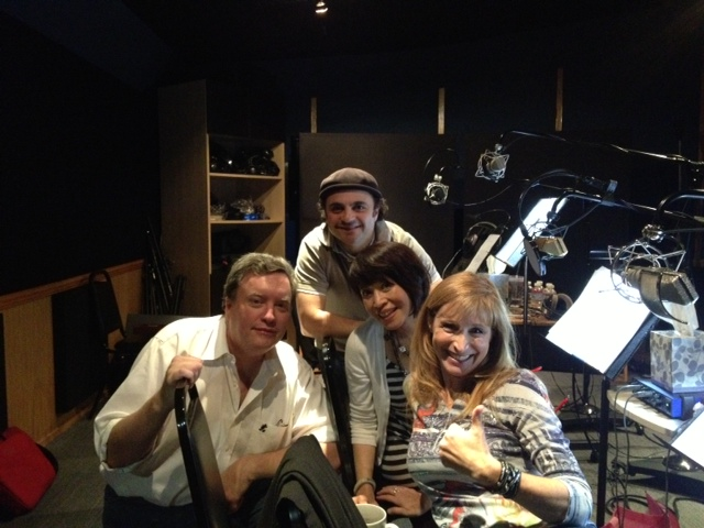 Recording booth Ed, Mike, Lauren & Me